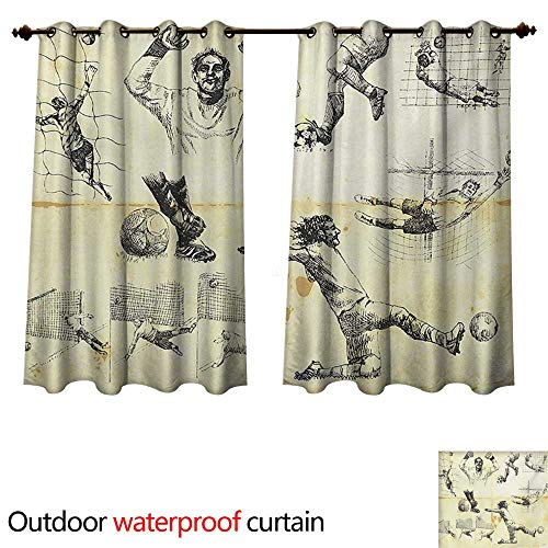 WilliamsDecor Soccer Home Patio Outdoor Curtain Collection of Different Soccer Player and Goalkeeper Theme Sketch Art W108 x L72(274cm x 183cm) (Keeper Control Soccer)