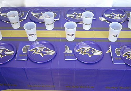 49 pieces Baltimore Ravens Party Set, Includes 16 Paper Plates, 16 Napkins, 16 Jumbo 14 oz Plastic Cups, and Large Tablecloth.
