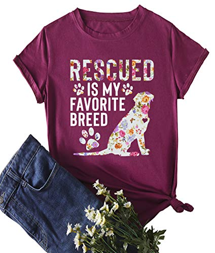 (Rescued is My Favorite Breed T-Shirt Women's Short Sleeve Tops Dog Print Tees )