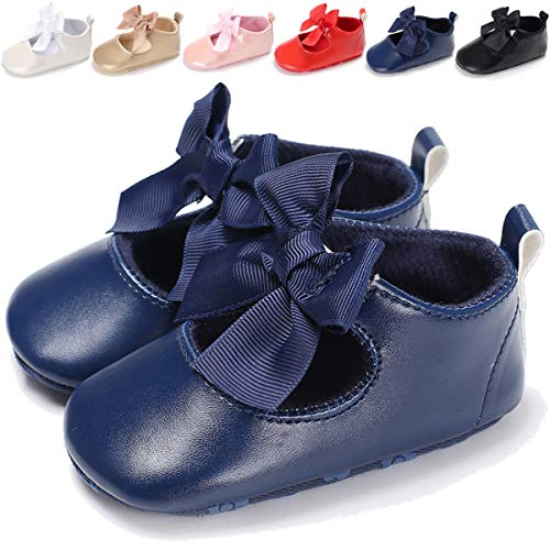 - Baby Girls Mary Jane Flats with Bowknot Soft Sole Non-Slip Toddler Infant First Walker Princess Dress Shoes,6-12 Months Infant,B-Navy