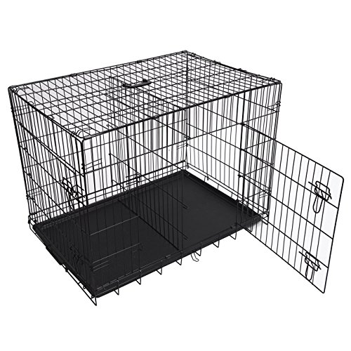MDOG2 30 By 21 By 24 Inch Folding Double Door Metal Dog Crate With
