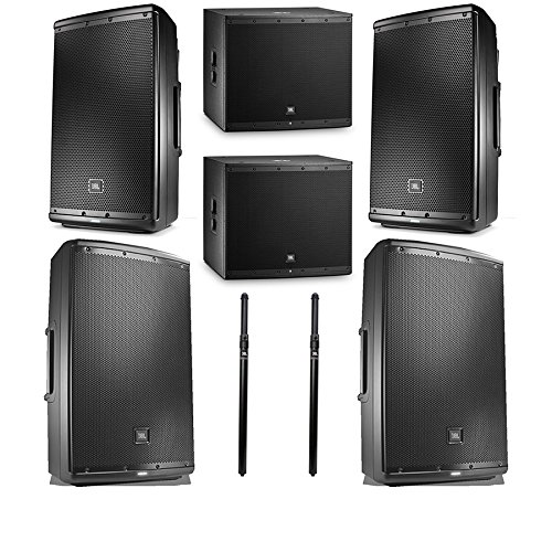 "JBL EON615 1000 watt 15"" powered speaker with 2 JBL EON618S Subwoofer, 2 JBL EON612 Monitors and 2 Poles from JBL Professional"