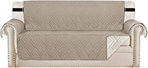 """Reversible Sofa Slipcover Furniture Protector Water Resistant 2 Inch Wide Elastic Straps Sofa Cover Couch Covers Pets Kids Fit Sitting Width Up to 78"""" (Oversized Sofa, Khaki / Beige)"""