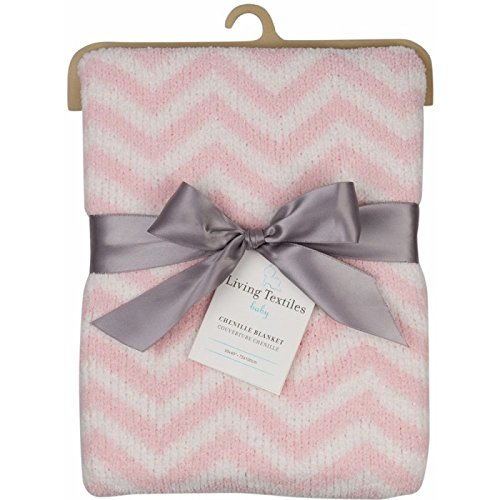 Living Textiles Chenille Baby Blanket. Pink Chevron Ultra-Soft Throw Blanket for Cribs and Strollers (40x30 inch) -