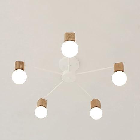 LOFT Modern plafón Elegant Fácil techo lámpara negro metal Madera nórdico creativo personalidad E27 × 5 decoración salón comedor dormitorio (No ...