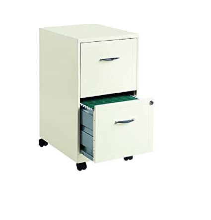 amazon com hirsh soho 2 drawer mobile metal file cabinet in white rh amazon com 2 drawer filing cabinet dimensions 2 drawer filing cabinet on wheels