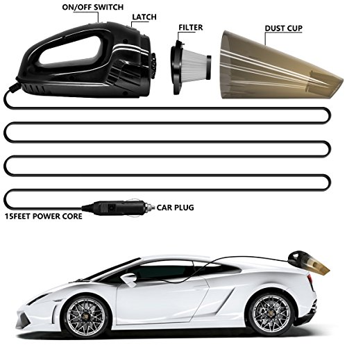 LOVIN PRODUCT Car Vacuum, Portable Handheld Car Vacuum Cleaner with Strong Suction; DC 12-Volt 120W High Power/Wet & Dry Use; with 15ft Power Cord, 2 Filters & Carry Bag, Black