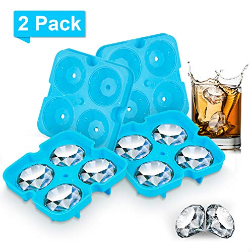 Silicone Ice Cube Tray,2 Pack Silicone Molds for Chocolate Cake Candy Cocktail Beverages,Large Ice Cube Tray for Whiskey,Diamond Shape Leak Proof Design
