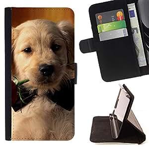 Momo Phone Case / Flip Funda de Cuero Case Cover - Labrador Retriever Rose de Bowtie del perro de perrito; - Samsung Galaxy J1 J100