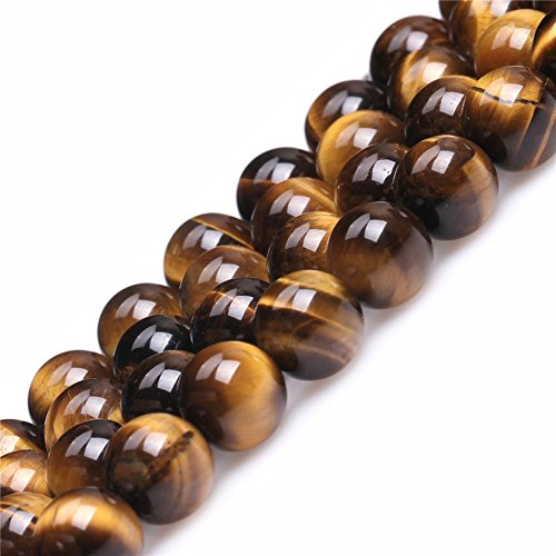 (Tiger Eye Beads for Jewelry Making Natural Gemstone Semi Precious 10mm Round 15