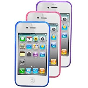 24/7 Cases 3 pcs Iphone 4/4s TPU Jelly Case (Sapphire Blue, Purple Amethyst, Pink Gemstone)