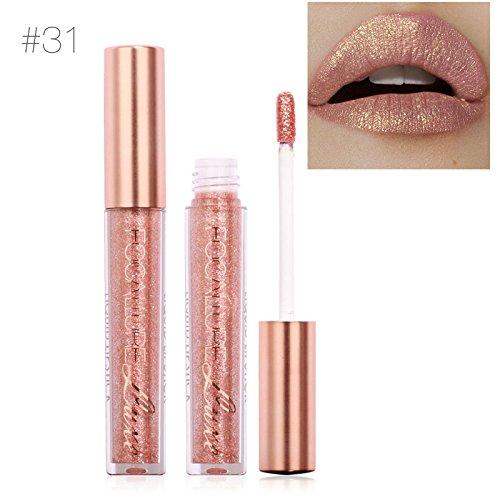 TOPBeauty Fashion Women Glitter Lip Makeup Waterproof Lip Gloss Nude Glitter Shimmer Focallure Lipstick Lip Kit #31