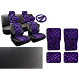 Purple Zebra Deluxe Leatherette 13pc Full Car Seat Cover Set Premium Synthetic Leather Double Stitched - 4pc Faux Fur Floor Mats - Full Interior