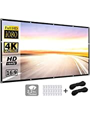 Projection Screen 150 inch 16:9 HD Foldable Anti-Crease Portable Projector Movies Screen for Home Theater Outdoor Indoor Support Double Sided Projection by P-JING