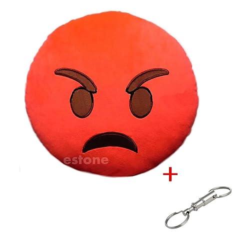 Amazon.com: 32 cm Con Forma De Emoticono Rojo Cojín redondo ...