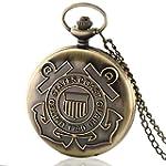 Glorio Antique Bronze US Coast Guard Retro Pocket Watch Charm Pendant Necklace Prop Men Women Gift Necklace Quartz Chain New