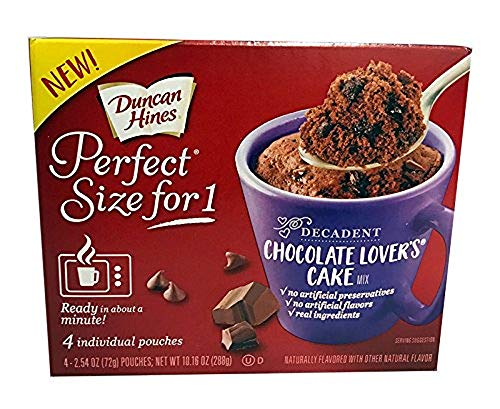 Duncan Hines Perfect Size for 1 Cake Mix Ready in About a Minute Chocolate Lover#039s Cake Individual Pouches 4 Count per pack 1016 Ounce