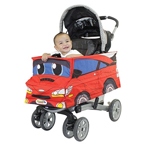 Red Car Stroller Costume Turns Stroller Into a Baby, Toddler Ride On Car Toy