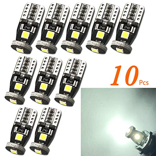 TORIBIO 10pcs T10 LED Bulb Bright 194 168 175 3030 PX Chipsets LED Bulbs for Car Interior Dome Map Door Courtesy Trunk License Plate Lights Xenon White