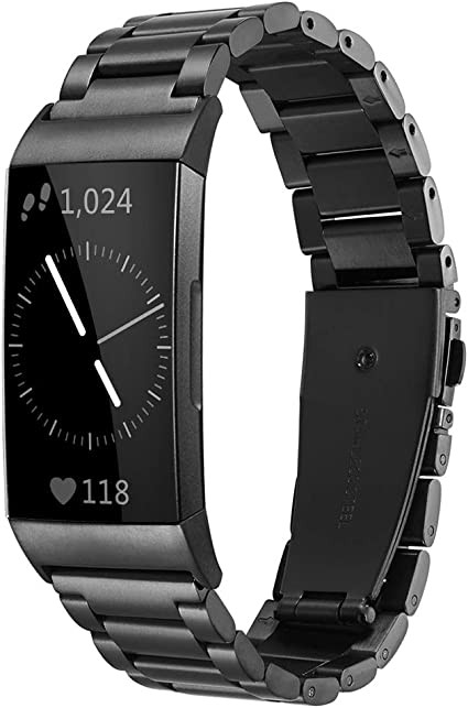 Silver Maxjoy for Fitbit Charge 3 Bands Black Charge 3 SE Metal Band Small Large Stainless Steel Bracelet Strap Replacement Wristbands for Fitbit Charge3// Charge3 SE Tracker for Men Women Rose Gold