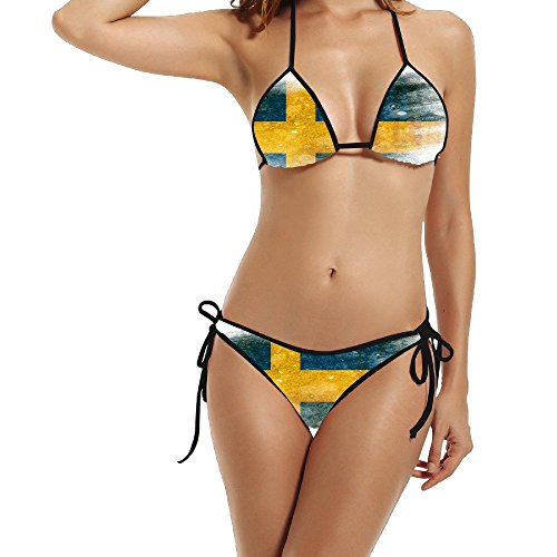 Price comparison product image Hotgirl4 Women Retro Flag Of Sweden Bikini Swimsuit Black 1 Size