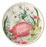 "Burton Happy Easter Bunny Rabbit & Spring 8.25"" Salad Dessert or Decorative Plate Cream & Pink"
