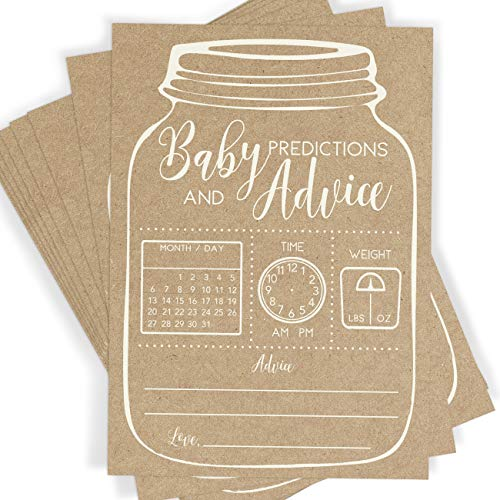 Pumpkin Party Ideas (Baby Predictions and Advice, Set of 50 Cards, Rustic Mason Jar Baby Shower Game and Activity, Fun, Unique, and Easy to)