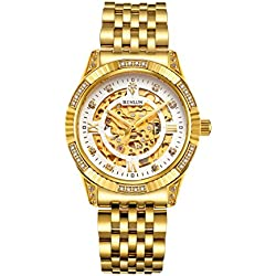 BINLUN 18K Gold Plated Automatic Wrist Watches for Men Luxury Men's Dress Watch