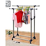 Cuekondy Heavy Duty Double Rail Hanging Clothing Rack Adjustable Telescopic Steel Rolling Clothes Garment Rack with 4 W' Brake Wheels (Silver)