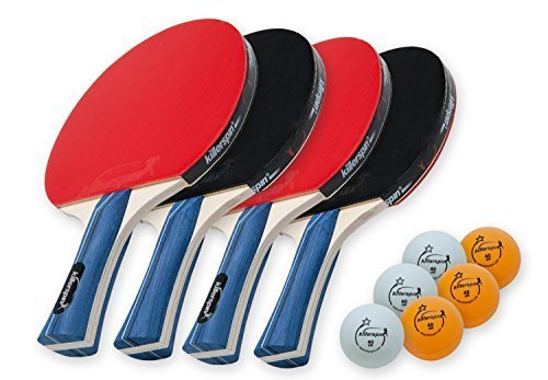 Killerspin JETSET4 - Table Tennis Set with 4 Ping Pong Paddles and 6 Ping Pong Balls   B018RRBZ5G