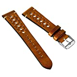 Geckota Vintage Gillingham Genuine Leather Perforated Racing Watch Band, 20mm & 22mm