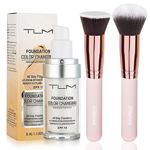TLM Colour Changing Foundation?TLM Foundation Color Changing Foundation Brush Powder Brush Self Adjusting Warm Skin Foundation Makeup Base Face Moisturizing Liquid Cover Concealer SPF 15 Hilareco