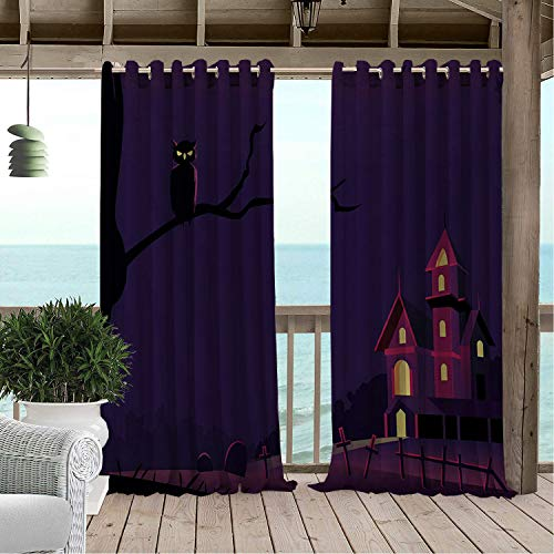 Linhomedecor Gazebo Waterproof Curtains Halloween Purple Castle Multicolor pergola Grommets Print Curtain 120 by 84 inch -