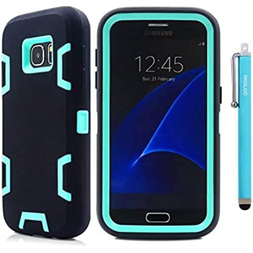 S7 Case Cover, Skoloo Full Body Hybrid Impact Shockproof Defender Case Cover for Samsung Galaxy S7 (Cyan in Black) Sales