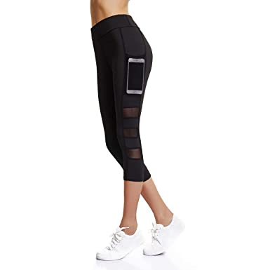 4ad21bb871a56 Joyshaper Workout Capri Leggings with Pockets for Women Mesh Stretchy Yoga  Pants Gym Running Tights (