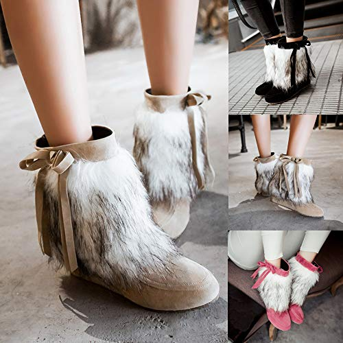 bf331e985818b Mysky Women Vintage Suede Plush Round Toe Wedges Shoes Ladies Pure Color  Slip-On Keep Warm Snow Boots Pink