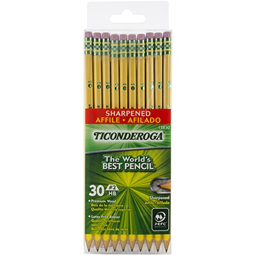 Dixon Ticonderoga Wood-Cased 2HB Pencils, Pre-Sharpened, Box of 30, Yellow (13830)