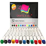 Crafts 4 ALL Fabric Markers Pens Permanent 12 Bright Dual TIP Fabric Paint, Child Safe,Water-Based &...
