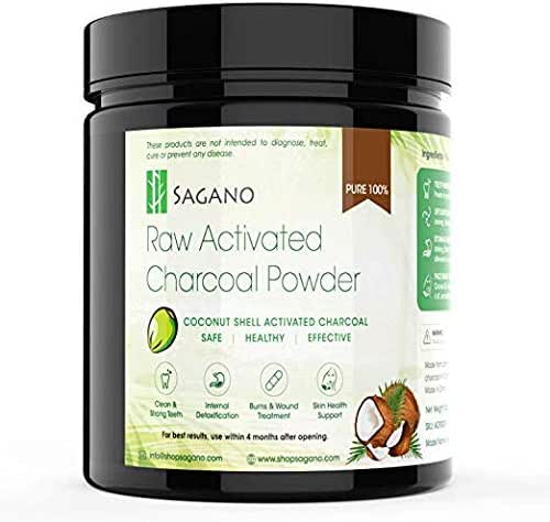 Activated Charcoal Powder 5oz by Sagano - Food Grade Coconut Charcoal Toothpaste, Natural Teeth Whitening Solution, Body Detox, Skin Cleanser, DIY Peel Off Mask, Blackead Remover – 3-6 Months