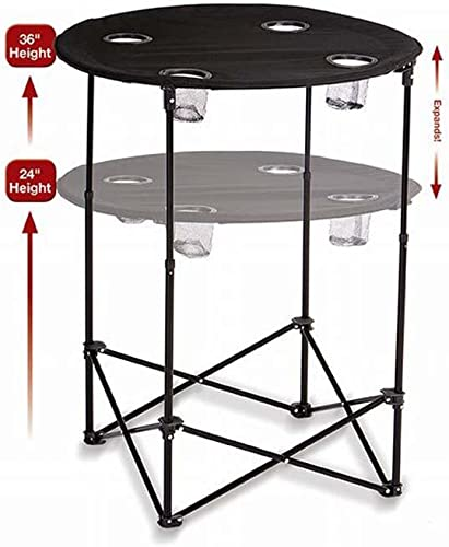 """Picnic Plus Portable Round Tailgate Table Extends from 24"""" to 36"""""""