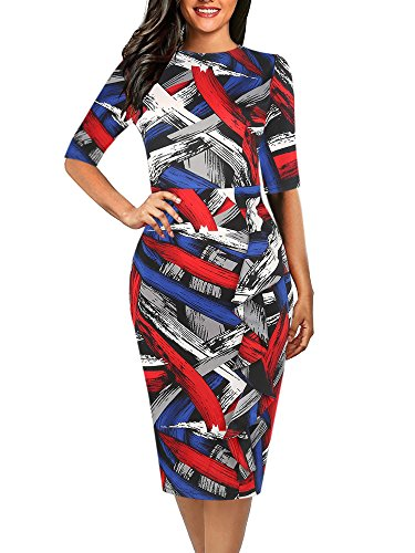 oxiuly Women's Chic Classic Striped Half Sleeve Round Neck Party Cocktail Pencil Slim Bodycon Dress OX055 (XL, Red Striped)