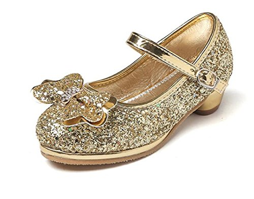 Bumud Kids Sparkling Mary Jane Rhinestone Glitter Formal Dress Low Heel Pumps Bridesmaids Princess Shoes (12 M US Little Kid, Golden) by Bumud