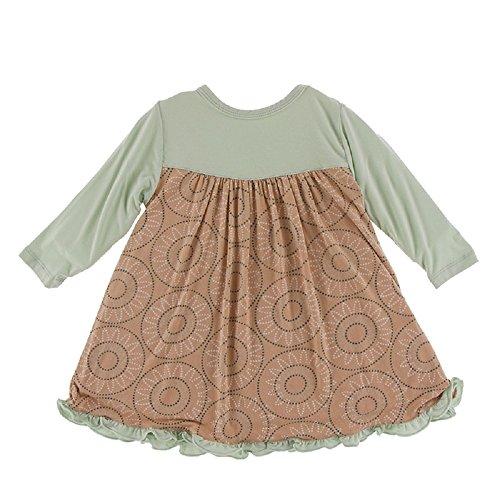 Kickee Pants Little Girls Print Classic Long Sleeve Swing Dress, Suede Bead Art, Extra Small