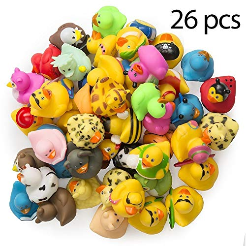 Floating Art Project - Kidsco Alphabet Rubber Duckies – 2 inches Cool and Fun Baby Bath Toys (Pack of 26) - Great Gift Ideas, Party Favors, Giveaways