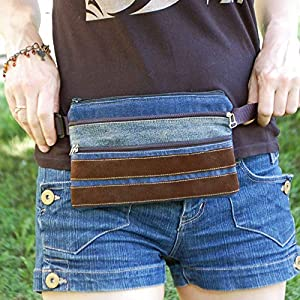Flat Fanny Pack, Velvet Denim Hip Pouch, Unisex Bum Bag, Cell Phone Purse, Slim Belt Wallet