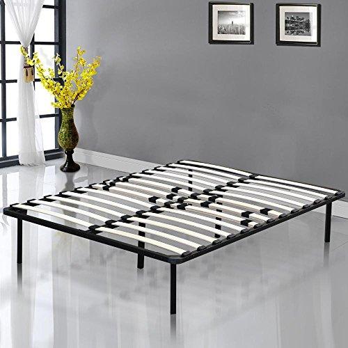 Yaheetech Modern Studio 14 Inch Platform Metal Bed Frame / Mattress Foundation / Wooden Slat Support, Black, Queen