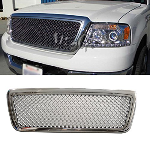 Viogi 1pc Chrome Strong Abs Plastic Badgeless Mesh Style Front Main Upper Grille Fit 04 08 Ford F150 Except Heritage