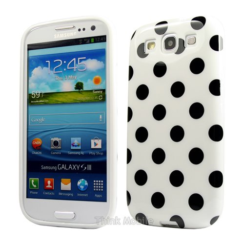 Samsung Galaxy S3 i9300 Caso Elegante - Blanco Polka Dots TPU Gel Funda Case Para Samsung Galaxy S3 i9300 - thinkmobile