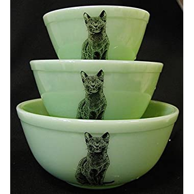 Mixing Nesting Bowls Set of 3 - American Made - Mosser (Jade w/Black Cat)