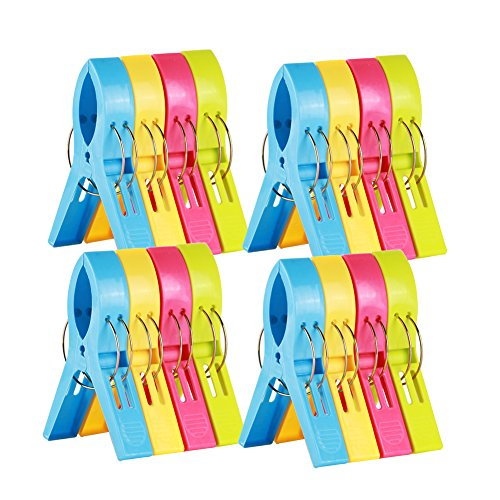 ilyever 16 Pack Colorful Beach Towel Clips for Beach Chair or Pool Loungers on Your Cruise-jumbo Size-keep Your Towel From Blowing Away,clothes Lines